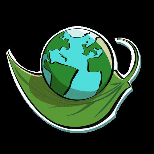 icona mondo su una foglia, simbolo di ambiente e sostenibilità