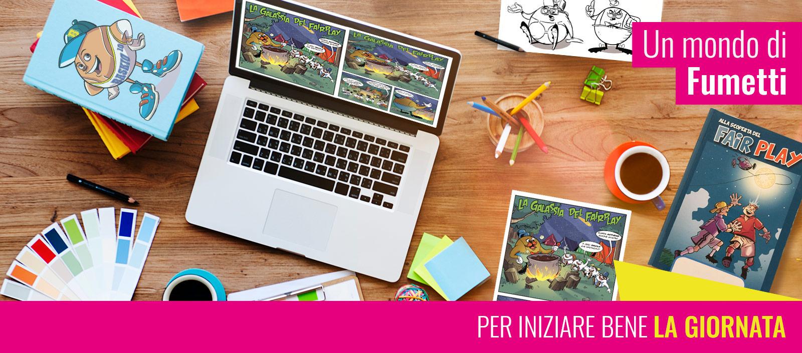 immagine con scrivania di un fumettista con immegini di fumetti e la scritta: un mondo di fumetti per iniziare bene la giornata