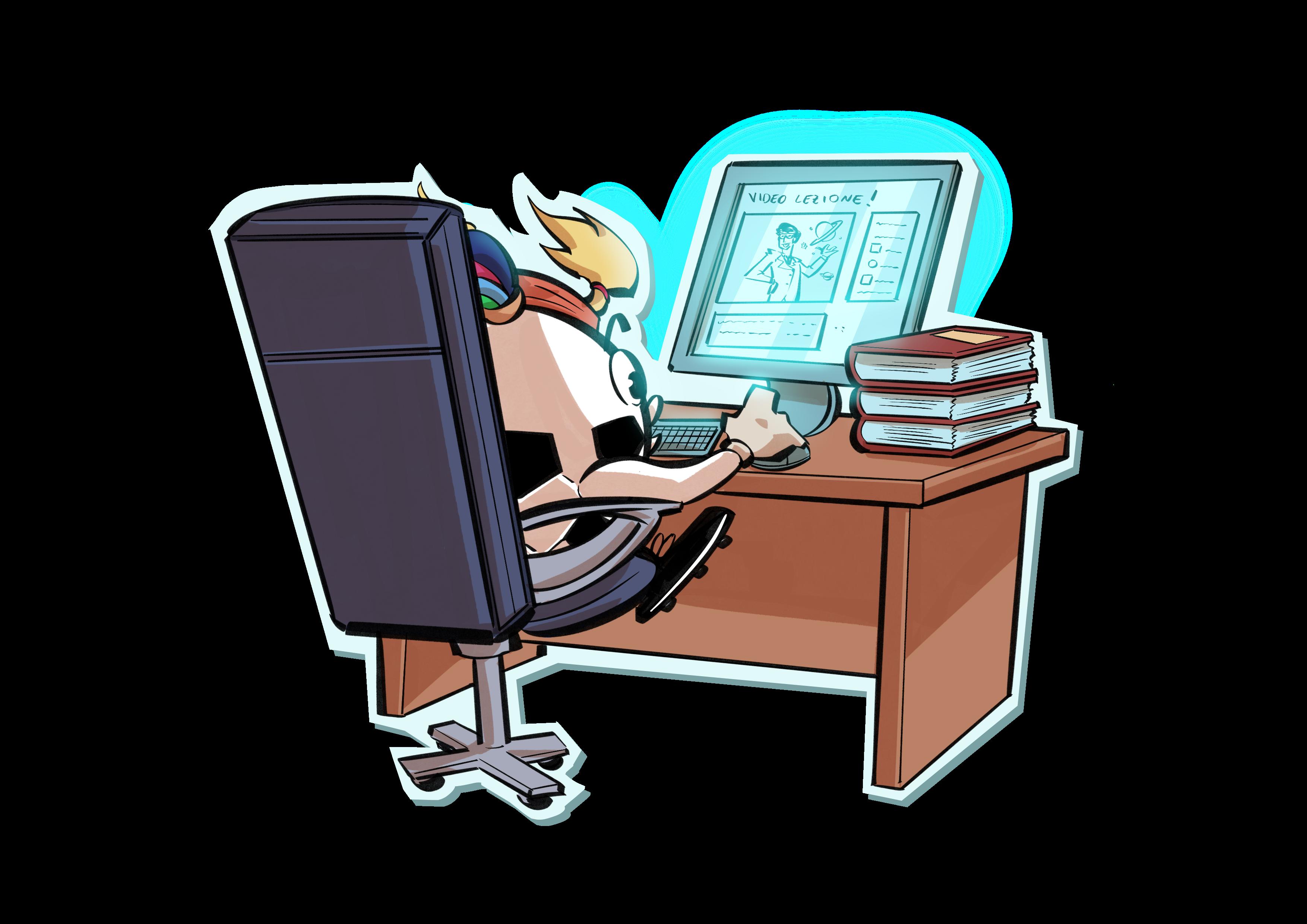 illustrazione con panola seduta al computer che invia un messaggio